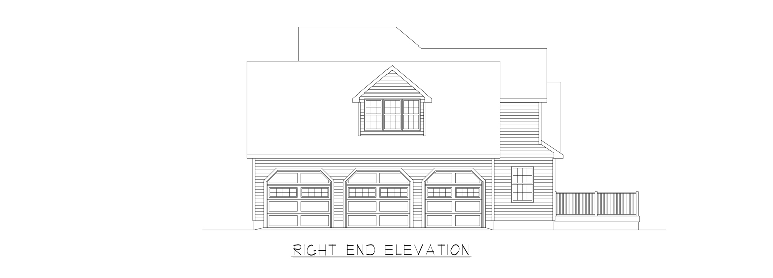 Coastal Homes & Design - The Thomasville - Right End Elevation